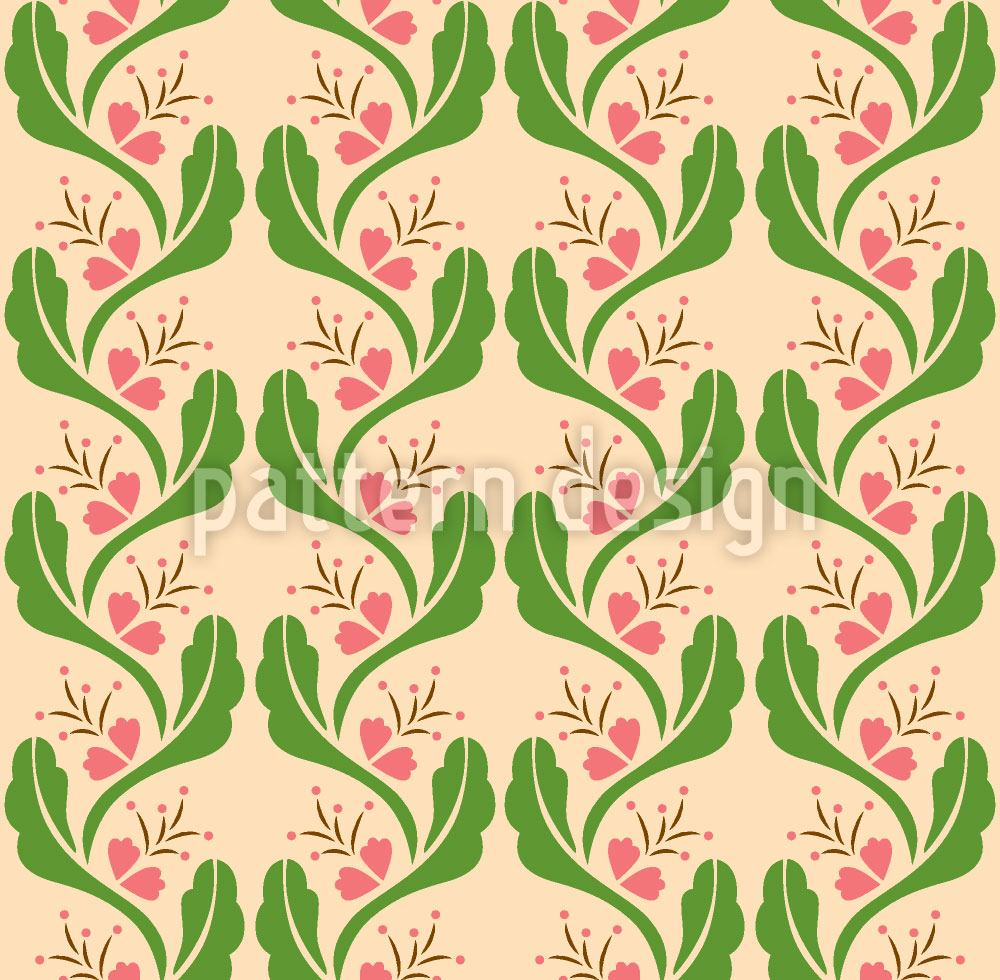 Pattern Wallpaper Tendrils With Pink