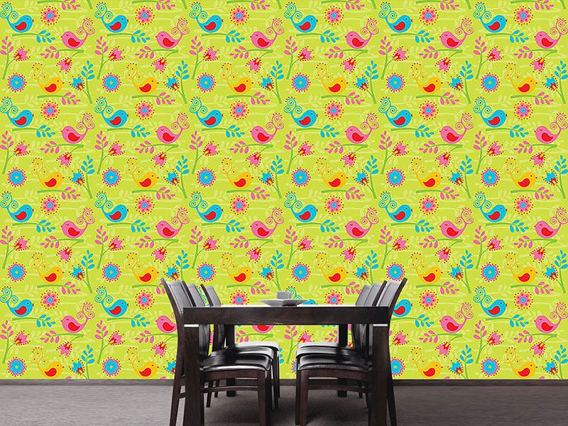 Pattern Wallpaper Colorful Birdsong