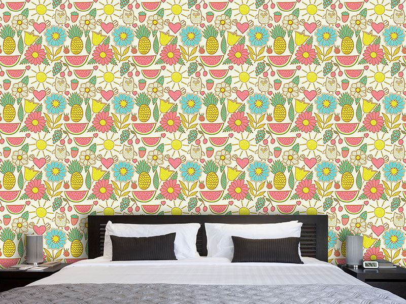 Pattern Wallpaper Owls On Holiday