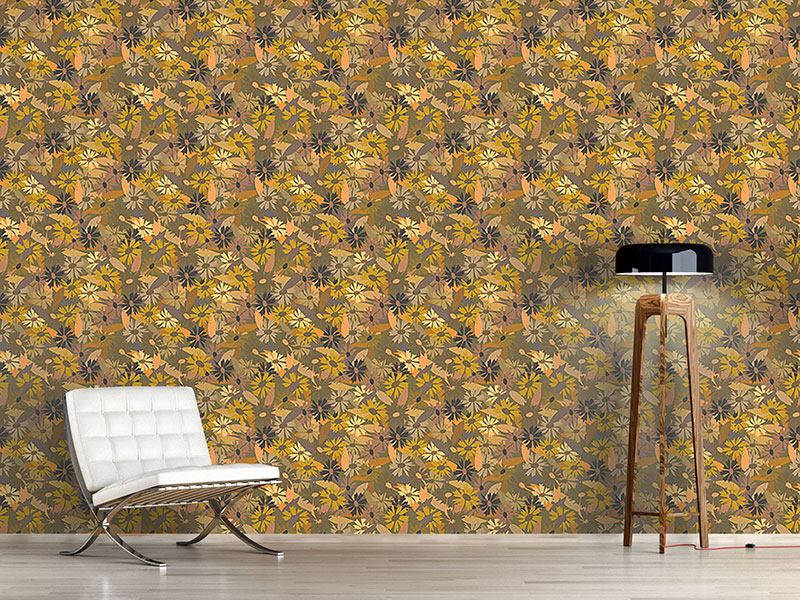 Pattern Wallpaper Wild Daisies Grow