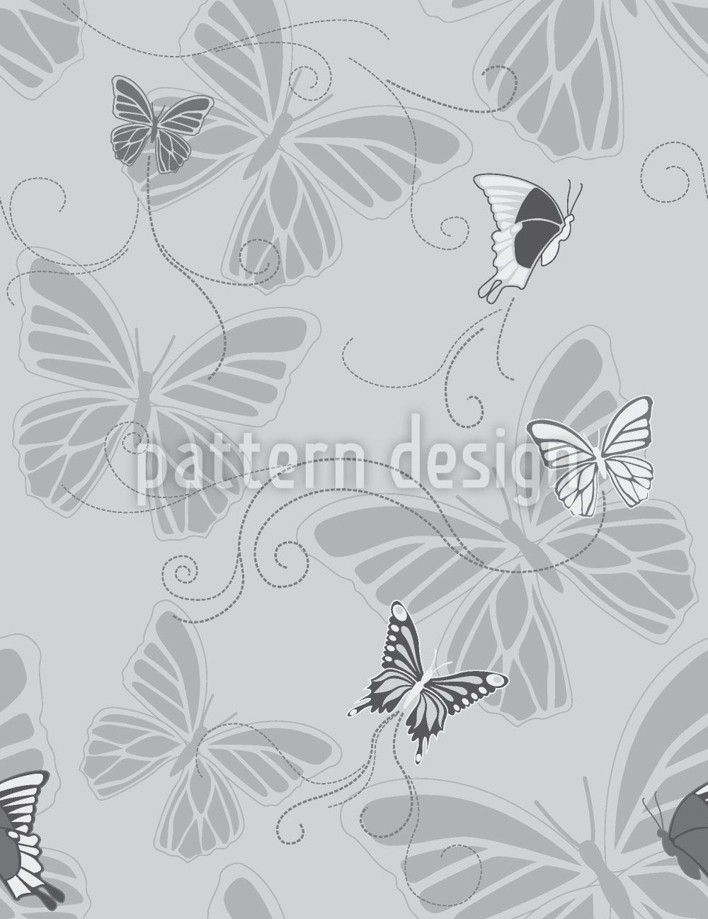 Pattern Wallpaper Monochrome Butterflies