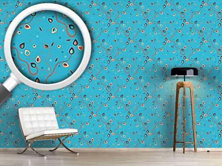 Pattern Wallpaper Ethno Branches Blue
