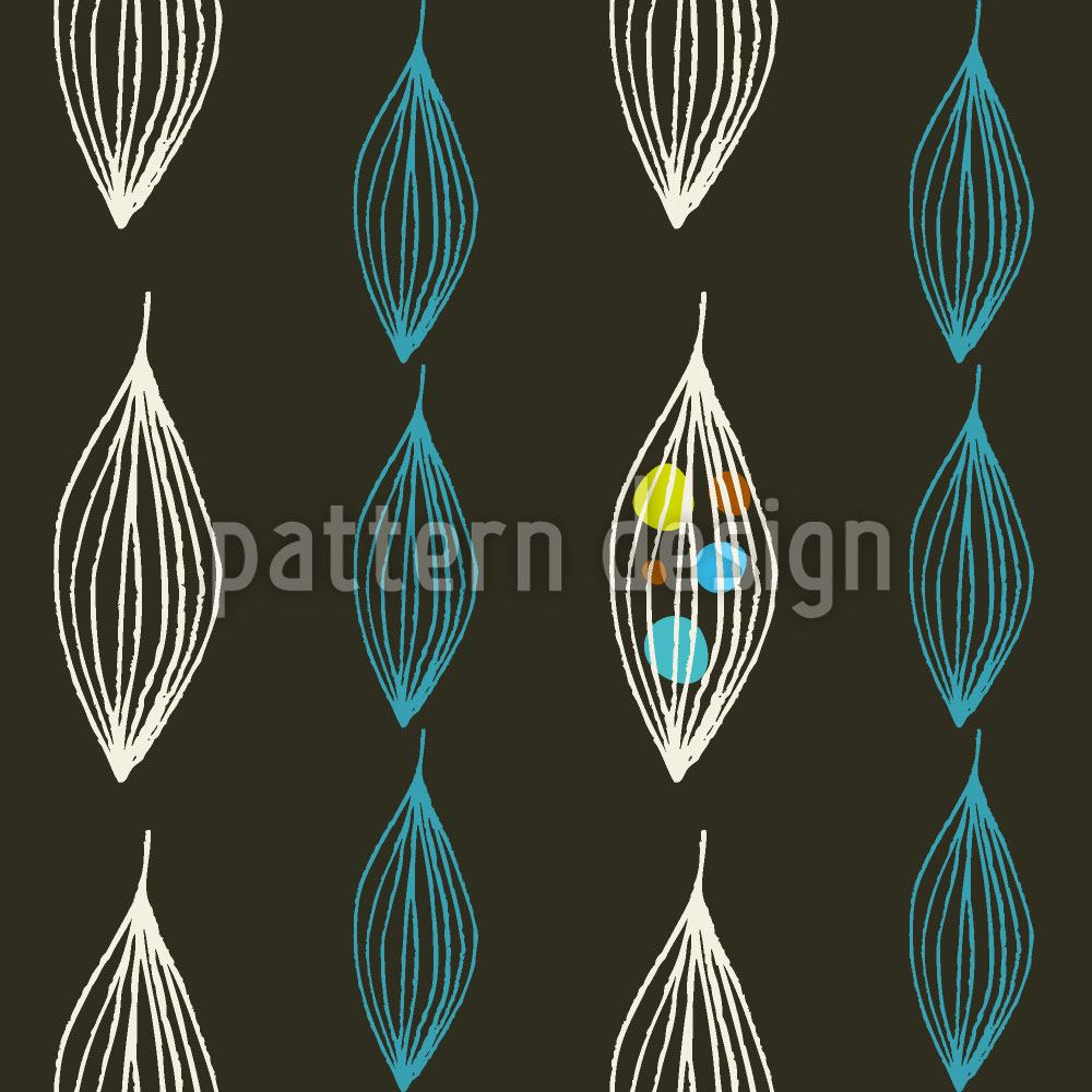 Pattern Wallpaper Mid Century Leaves