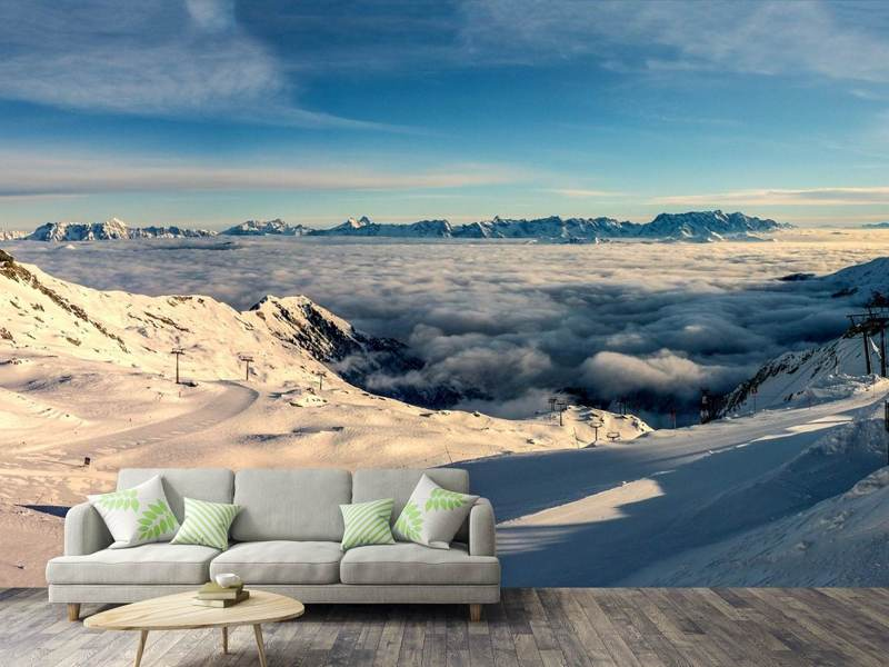 Photo Wallpaper Above the clouds in the snow