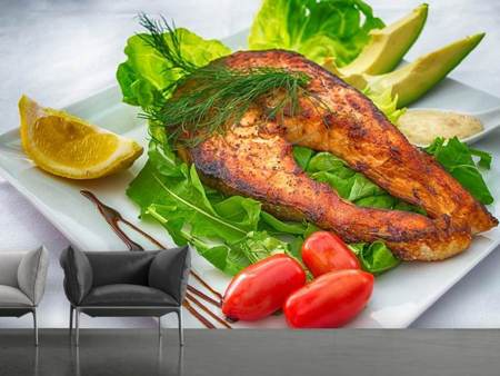 Photo Wallpaper Salmon plate