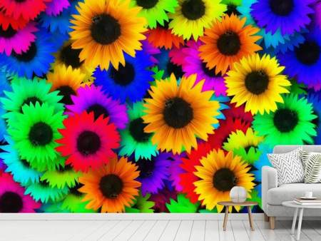 Photo Wallpaper Colorful sunflowers