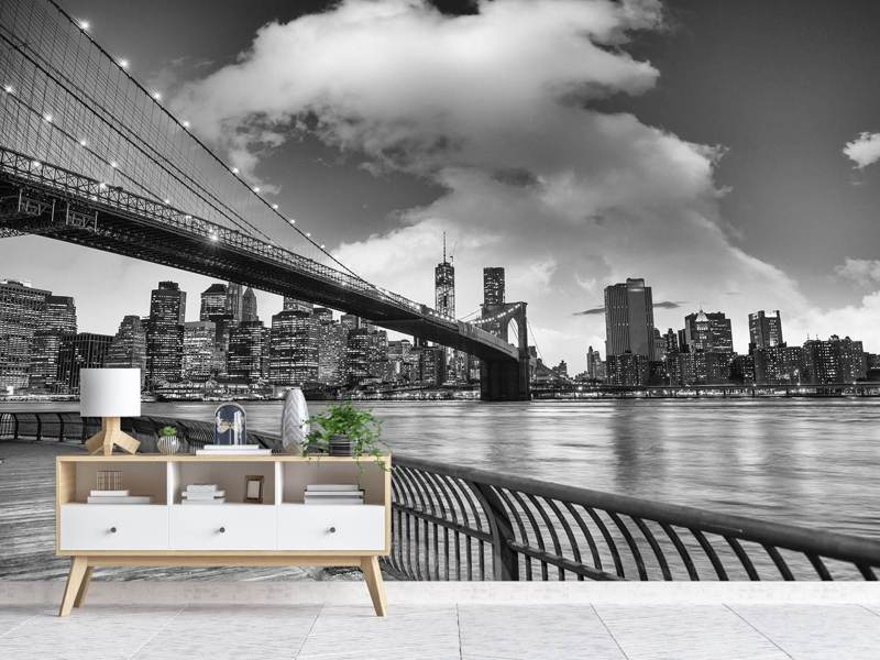 Valokuvatapetti Skyline Black And White Photography Brooklyn Bridge NY